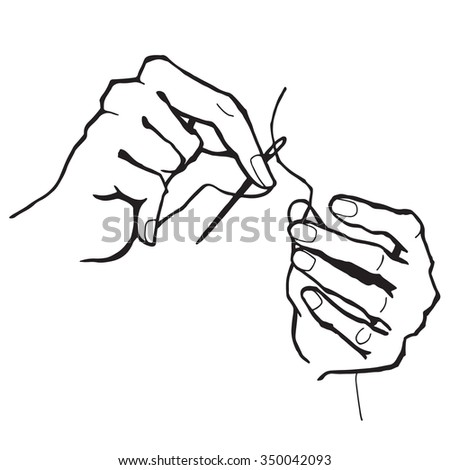 Fashion clothes design hands with needle and thread. Line illustration.
