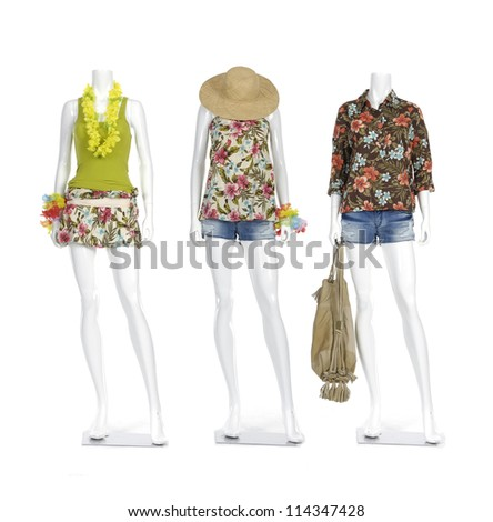 Fashion clothing on mannequin in short jeans with bag and lei - stock photo