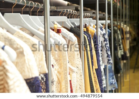 fashion clothing store, hangers at the show