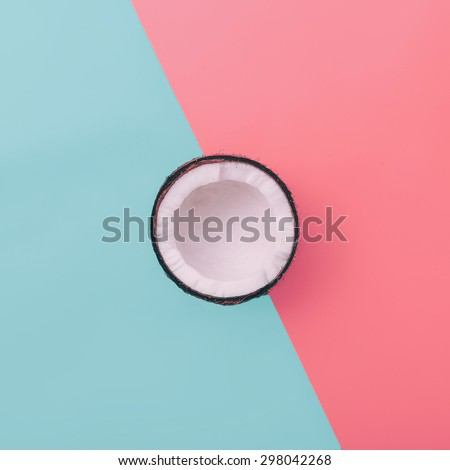 Fashion Coconut on exclusive background. Minimal style - stock photo