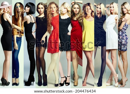 Fashion collage. Group of beautiful young women. Sensual girls - stock photo