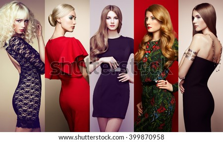 Fashion collage. Group of beautiful young women. Sensual girls posing in studio. Lady in elegant dresses - stock photo
