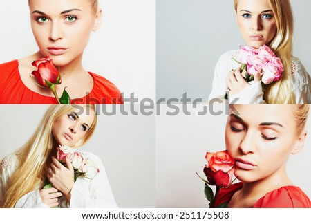 Fashion collage. Group of beautiful young women. Sensual girls with flowers.beautiful blond woman with rose.girls and roses.Beauty color collage