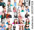 Fashion collage of stylish women posing with accessories, bright make-up. Emotions. studio shot - stock photo