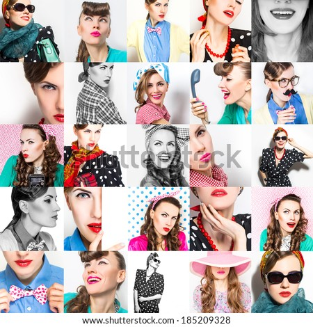 Fashion collage of stylish women posing with accessories, bright make-up. Emotions. studio shot