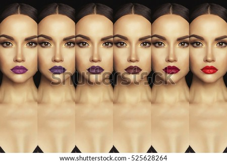 Fashion collage with close-up shot of beautiful woman with colorful lipstick. Collection lipstick. Perfect lips makeup.