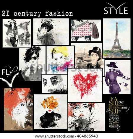 Fashion collage with freehand drawings, female faces - stock photo