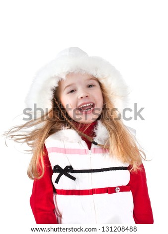 Fashion collection: Adorable little girl isolated on white background