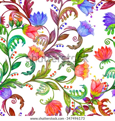fashion colorful seamless texture with abstract flowers of watercolor
