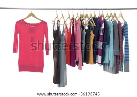 Fashion colorful shirt rack - stock photo
