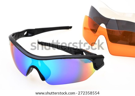 fashion colorful Sport sunglasses on white background - stock photo