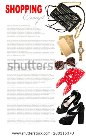 Fashion concept with business lady accessories. Feminine shopping objects on white background. Bag, shoes, mobile phone, sunglasses for woman - stock photo