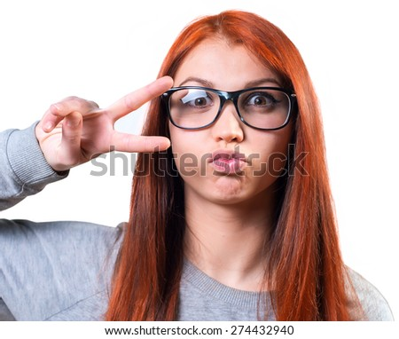Fashion cool girl hipster in glasses. - stock photo