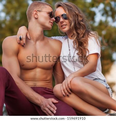 fashion couple - stock photo