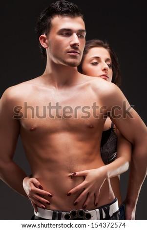 Fashion Couple, Dramatic image shot - stock photo