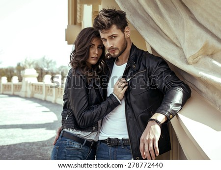 Fashion couple outdoor - stock photo