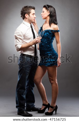 Fashion Couple standing in studio
