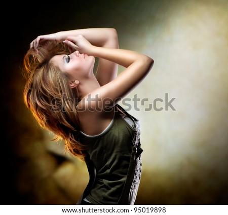 Fashion Dancing Girl. Disco - stock photo