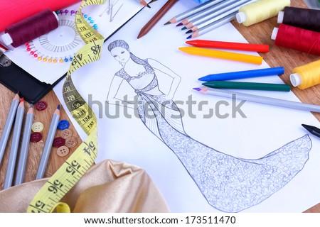 Fashion designer close up - stock photo