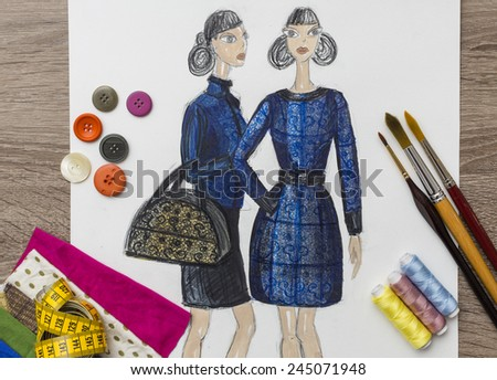 Fashion Designer Drawing - stock photo