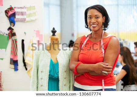 Fashion Designer In Studio - stock photo