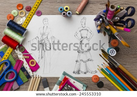 Fashion designer table - stock photo