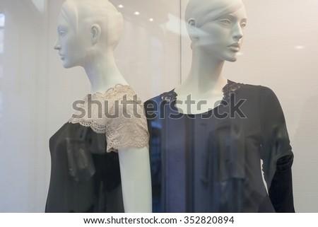fashion  display mall retail shopping luxury gift window  - stock photo