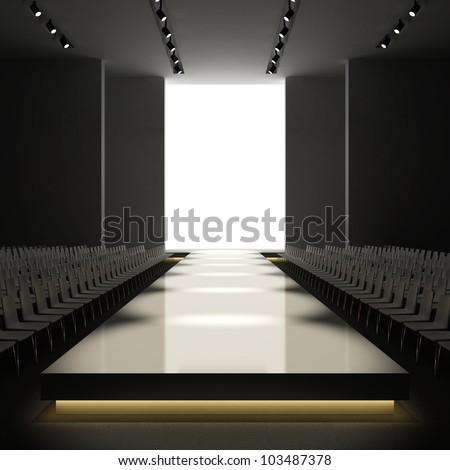 fashion empty runway 3d - stock photo