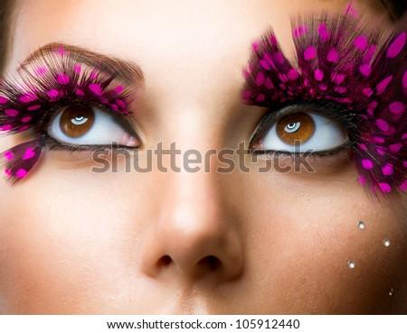 Fashion False Eyelashes. Stylish Makeup - stock photo
