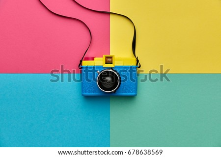 Fashion Film Camera. Hot Summer Vibes. Pop Art. Creative Retro Design. Hipster Trendy Accessories. Sunny Still life. Bright Sweet Style. Surreal, Minimal Fun. Vanilla Pastel Color