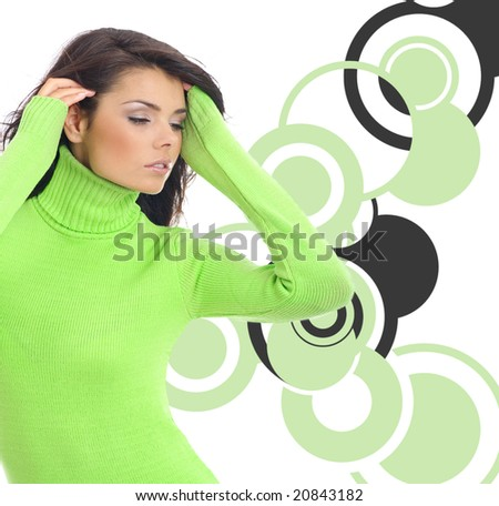 Fashion girl collage.  multicolor ring abstract background - stock photo