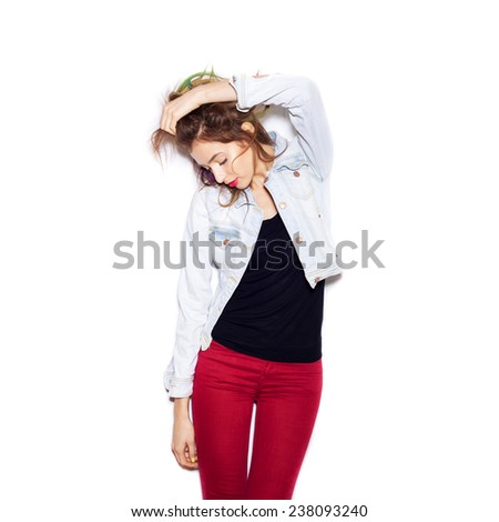 Fashion girl hipster .  White background, not isolated - stock photo