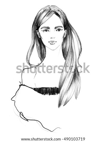 Fashion girl illustration young woman model face on white background white and black art