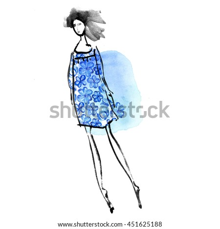 fashion girl in blue meadow dress concept. watercolor sketch illustration. Beautiful young women in fashion clothing. Isolated fashion lady on white background. Vogue style. Fashion women pose. - stock photo