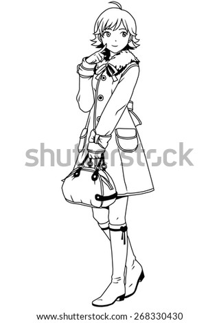 fashion girl in coat and bag,illustration,black and white,art,outline