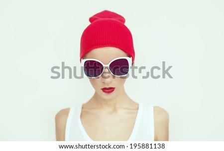 Fashion  girl in glamorous sunglasses - stock photo