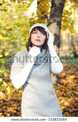 Fashion girl portrait, autumn outdoor. - stock photo