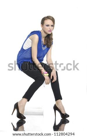 Fashion girl, portrait, studio, emotion - stock photo