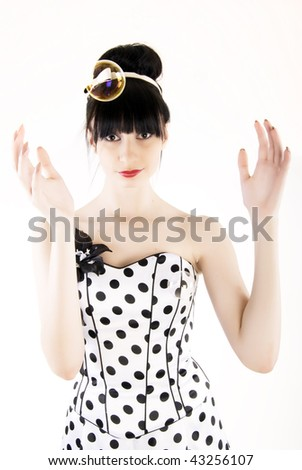 Fashion girl posing with bubbles on white background - stock photo
