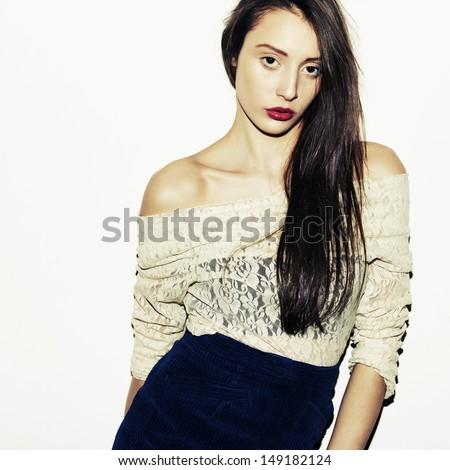 Fashion girl. Studio shot. - stock photo
