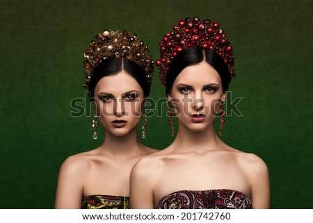 fashion girls ethnic - stock photo