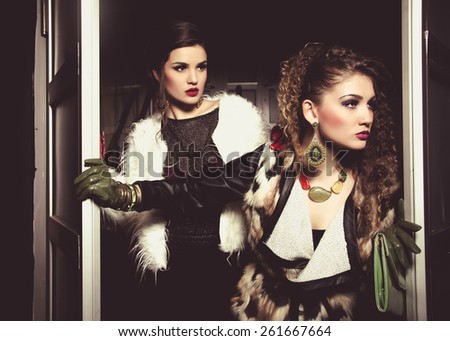 fashion girls ready for a night out - stock photo