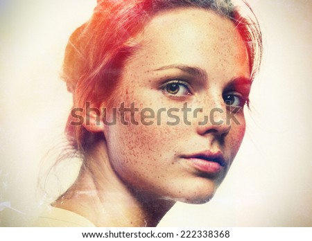 fashion grunge vintage hipster woman portrait  - stock photo