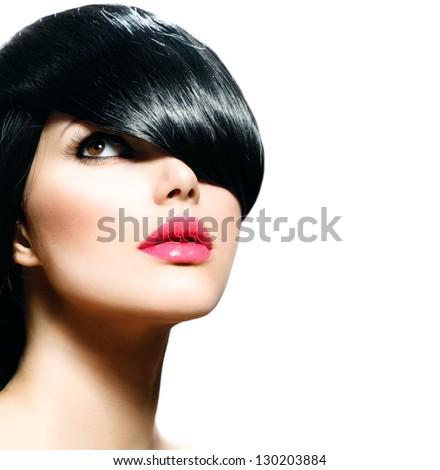 Fashion Hair. Hairstyle. Haircut. Hairdressing. Fringe. Beauty Stylish Girl isolated on White Background - stock photo