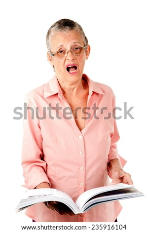 Fashion hair senior reading a book and shocked . - stock photo