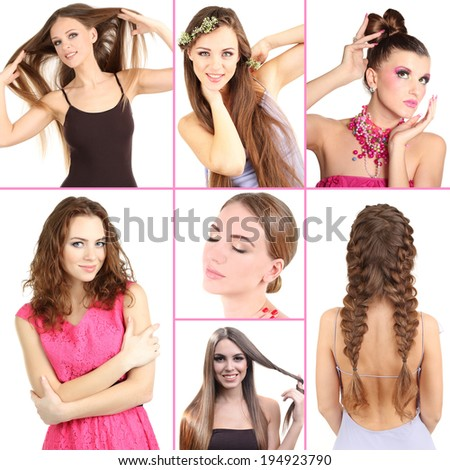 Fashion hairstyle collage - stock photo