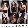 Fashion hairstyle collage. Beautiful girl with natural long hair - stock photo