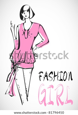 Fashion hand drawn girl on pink dress in sketch-style. glamour illustration. Raster version - stock photo