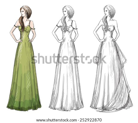 Fashion hand drawn illustration. sketch. Long dress. - stock photo