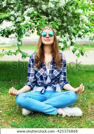 fashion portrait beautiful hippie young woman stock photo